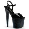 TABOO-709MG Black Patent/Glitter